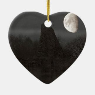 Ornement Cœur En Céramique lune sur la ruine