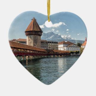 Ornement Cœur En Céramique Luzerne de pont de chapelle, Suisse
