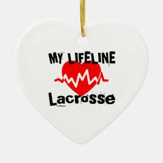 Ornement Cœur En Céramique Ma ligne de vie lacrosse folâtre des conceptions