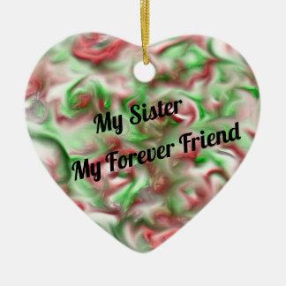 Ornement Cœur En Céramique Ma soeur mes couleurs de fête de vacances d'ami de