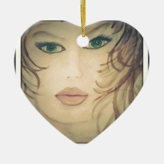 Ornement Cœur En Céramique Madame Portrait