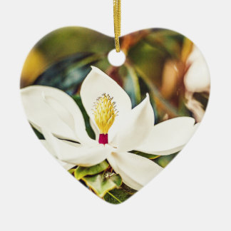 Ornement Cœur En Céramique Magnolia magnifique du Mississippi