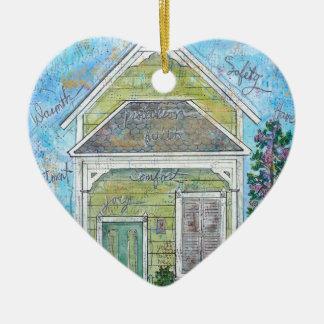 Ornement Cœur En Céramique Maison
