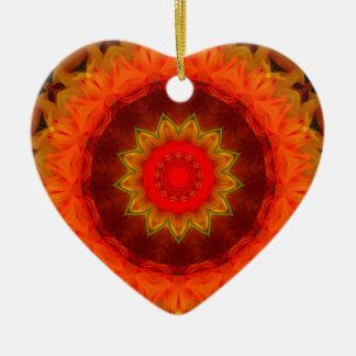 Ornement Cœur En Céramique Mandala numérique rougeoyant