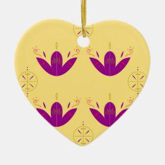 Ornement Cœur En Céramique Mandalas peints par luxe