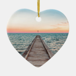 Ornement Cœur En Céramique Marche vers l'infini de la mer