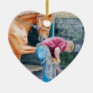 Ornement Cœur En Céramique Maréchal-ferrant de cheval