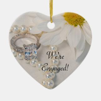 Ornement Cœur En Céramique Marguerite blanche élégante nous sommes engagés