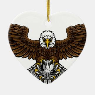 Ornement Cœur En Céramique Mascotte du football du football d'Eagle