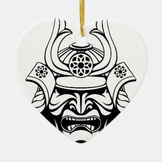 Ornement Cœur En Céramique Masque samouraï stylisé