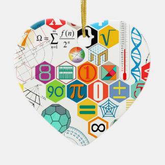Ornement Cœur En Céramique Maths (blanches)