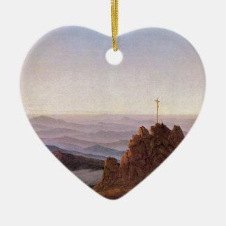 Ornement Cœur En Céramique Matin dans Riesengebirge - Caspar David Friedrich