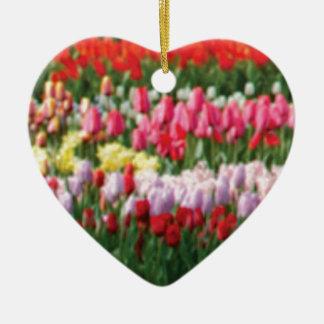 Ornement Cœur En Céramique mélange de couleur de fleur
