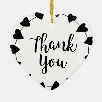 Ornement Cœur En Céramique MERCI, carte de remerciements