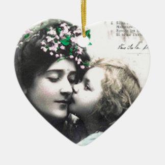 Ornement Cœur En Céramique Mère et enfant