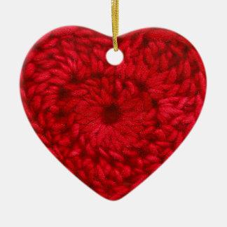 Ornement Cœur En Céramique Métiers faits main rouges de coeur de fil de