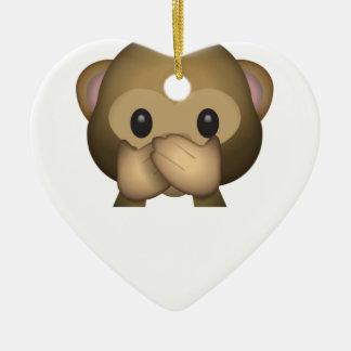 Ornement Cœur En Céramique Mignon ne parlez aucun singe mauvais Emoji