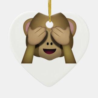 Ornement Cœur En Céramique Mignon ne voir l'aucun singe mauvais Emoji