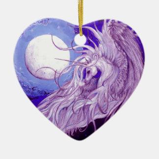 Ornement Cœur En Céramique Mignon pourpre magique de lune de licorne de noir