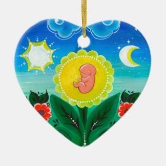Ornement Cœur En Céramique Miracle de la vie