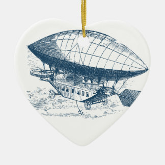 Ornement Cœur En Céramique Miscellaneous - Blue Vintage: Air-Balloon