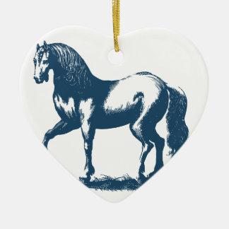 Ornement Cœur En Céramique Miscellaneous - Blue Vintage: Horse