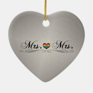 Ornement Cœur En Céramique Mme et Mme Lesbian Design