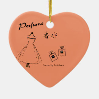 Ornement Cœur En Céramique Mode et bouteille de parfum