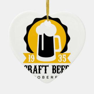 Ornement Cœur En Céramique Modèle de conception de logo de bière de métier