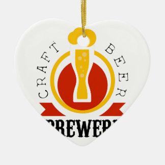 Ornement Cœur En Céramique Modèle de conception de logo de brasserie de bière