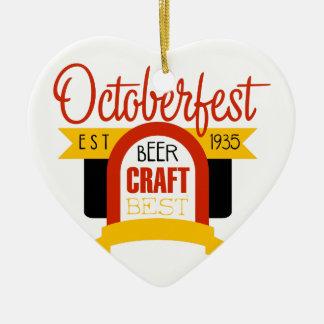 Ornement Cœur En Céramique Modèle de conception de logo d'Oktoberfest