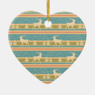 Ornement Cœur En Céramique Modèle ethnique nordique de nouvelle année