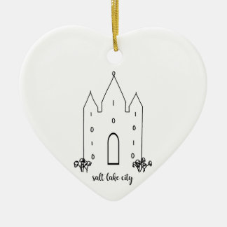Ornement Cœur En Céramique moderne simple de temple de Salt Lake City Utah