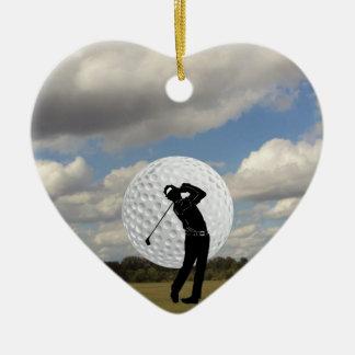 Ornement Cœur En Céramique Monde de golf