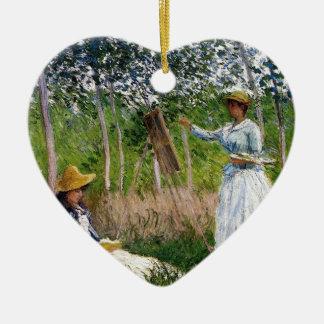 Ornement Cœur En Céramique Monet dans les bois