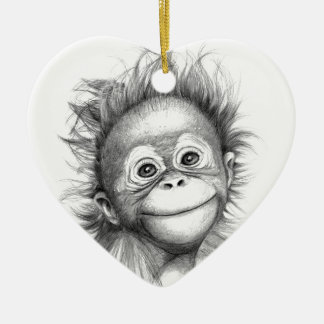Ornement Cœur En Céramique Monkey - Baby Orang outan 2016 G-121