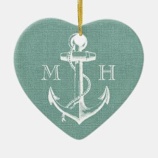 Ornement Cœur En Céramique Monogramme vintage rustique de mariage d'ancre