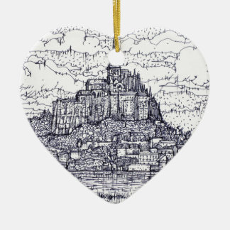 Ornement Cœur En Céramique mont saint-Michel