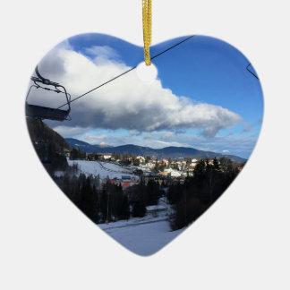 Ornement Cœur En Céramique Montagne de ski