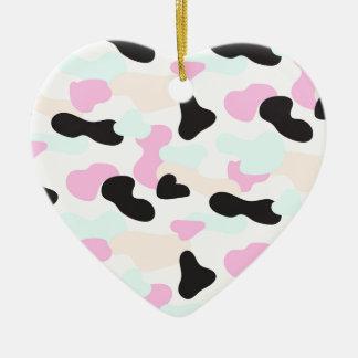 Ornement Cœur En Céramique Motif au néon de camouflage de couleurs