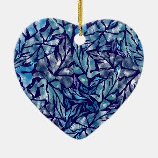 Ornement Cœur En Céramique motif B de feuille
