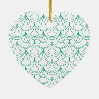 Ornement Cœur En Céramique Motif bleu