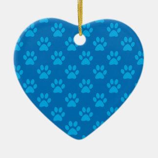Ornement Cœur En Céramique Motif bleu de pattes de chiot