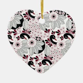 Ornement Cœur En Céramique motif C de feuille