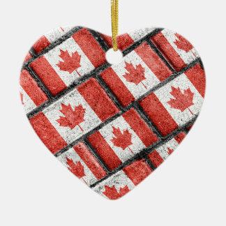 Ornement Cœur En Céramique Motif canadien de motif de drapeau