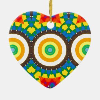 Ornement Cœur En Céramique Motif coloré de point de kaléidoscope