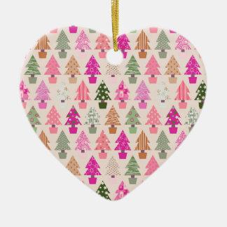 Ornement Cœur En Céramique Motif d'arbre de Noël