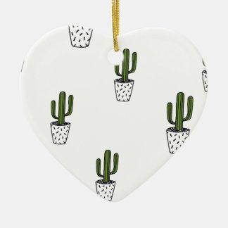 Ornement Cœur En Céramique Motif de cactus