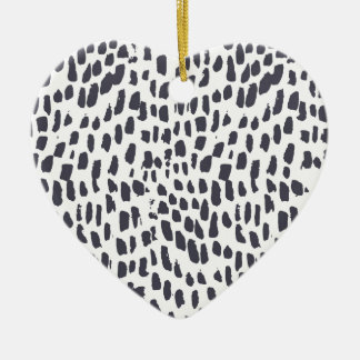 Ornement Cœur En Céramique Motif de course de brosse de léopard