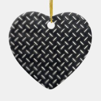 Ornement Cœur En Céramique motif de diamant-plat